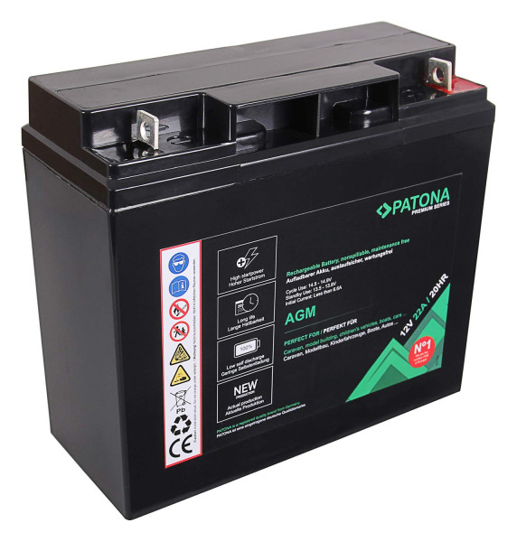 Patona Premium AGM 12V 22Ah Blei Batterie