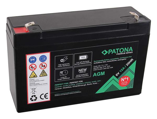 Patona Premium AGM 6V 12Ah Blei Batterie