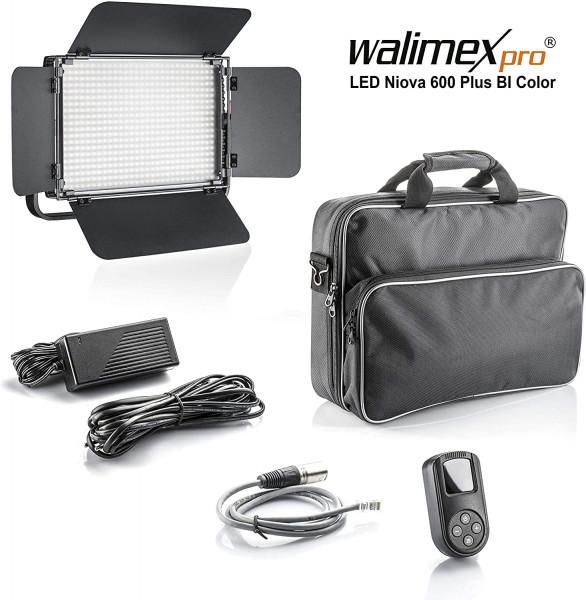 Walimex pro Niova 600 Plus Bi Color – LED Videoleuchte Dauerlicht Flächenleuchte, 36 Watt, 600 LED, dimmbar, 3200-5600K, 4.200 Lumen,