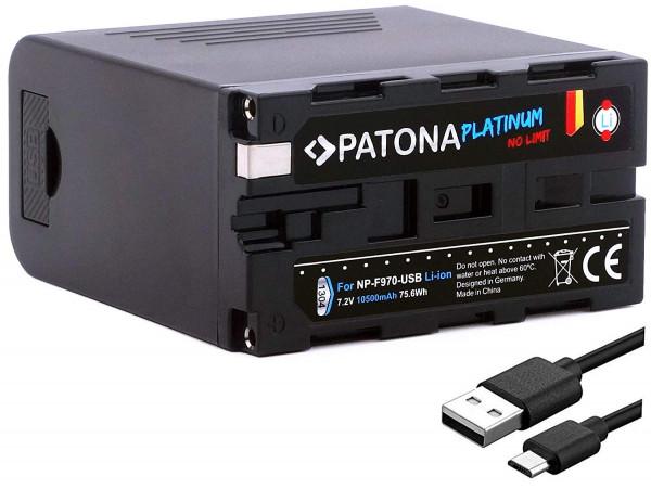 Patona Platinum Ersatz für Akku Sony NP-F970 mit USB Powerbank Funktion