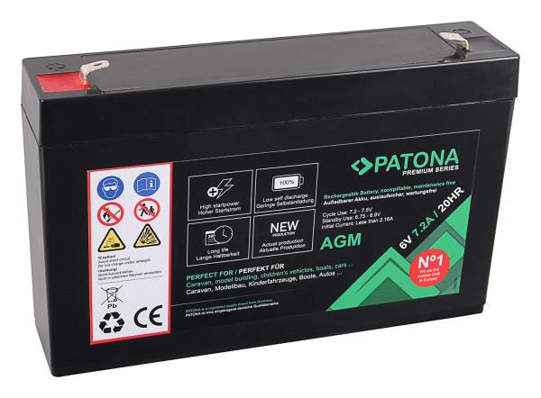 Patona Premium AGM 6V 7.2Ah Blei Batterie
